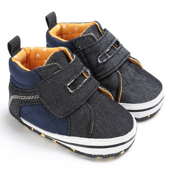 Hot sale Toddler Baby Boy First Walker Shoes Folders Casual Sneaker PU Plaid Soft Sole Crib Shoes