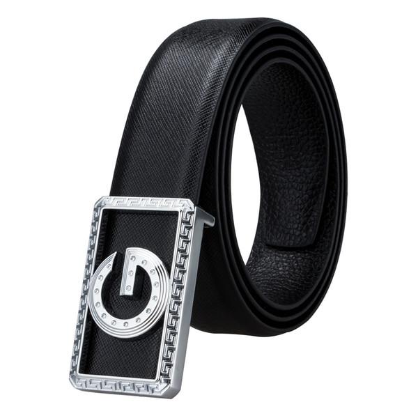 Hi-Tie Designers cuero de vaca cuero genuino hebilla de cinturones para hombre de alta calidad para hombre piel de vaca Ceinture Homme BK-0006