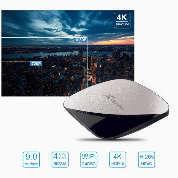 Top Box Media Player 4 çekirdek Youtube 64 GB-ROM Çift Wifi RK3318 dört çekirdekli usb 3.0 4 k Android 9.0 X88-Pro