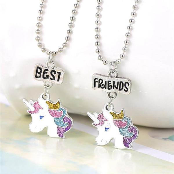 NEW Design 2Pcs/Set Unicorn Pendant Necklaces For Children Boys And Girls Best Friend Friendship Necklace Chain Jewelry