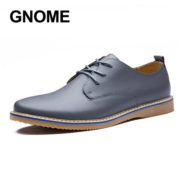Gnome Fashion Oxford Shoes Men British Style Lace-up Mens Casual Shoes Round Toe Men Flats Genuine Leather Casual Shoes Men