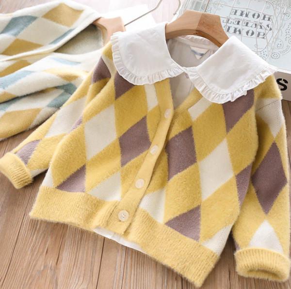 Crianças xadrez cardigan estilo preppy meninas de malha outwear princesa crianças com decote em v único breasted camisola de manga comprida cardigan F9361