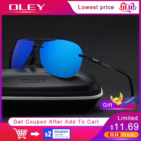 OLEY Men's Sunglasses Brand Designer Pilot Polarized Male Sun Glasses Eyeglasses gafas oculos de sol masculino For Men Y7558