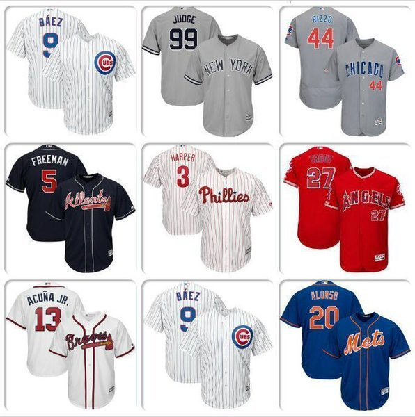 jerseys Mens Baseball Jersey Javier Baez Anthony Rizzo Ronald Acuna Jr. Freddie Freeman Bryce Harper Mike Trout Aaron Juiz Nick Markakis dos EUA