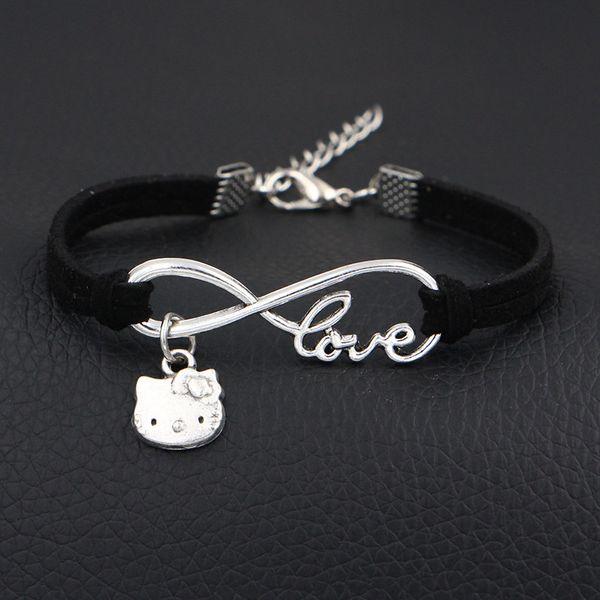 Infinity Love Hello Kitty Cat Bangles For Women Men 2018 Fashion Vintage Handmade Black Leather Suede Statement Charm Bracelets Boho Jewelry