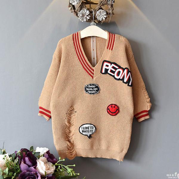 Moda camisola meninas vestidos novos 2019 buraco dos desenhos animados de inverno camisola de malha crianças vestidos de crianças roupas de grife meninas vestido A7411