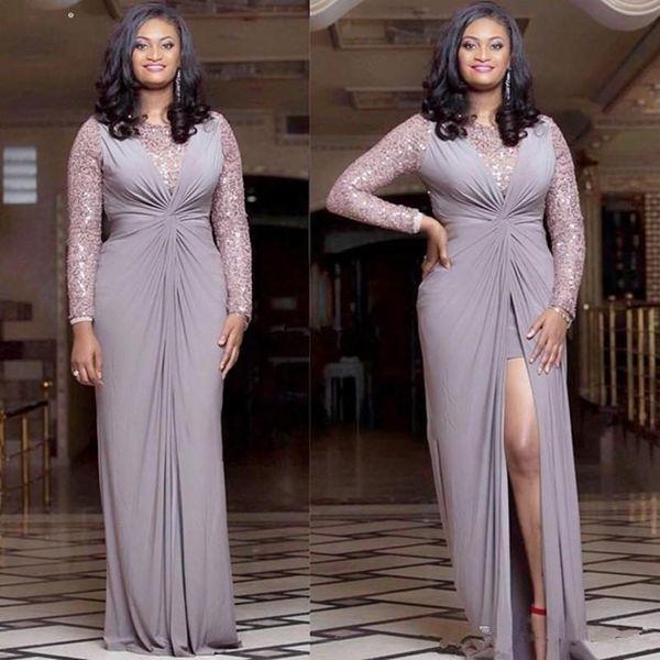 Mãe elegante Plus Size do desgaste por Bride Dress Longo Africano mangas alta Dividir Mãe Vestido formal baratos Prom
