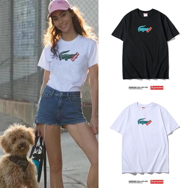 2019 nouveaux hommes et femmes avec le même paragraphe K214 T-shirt à manches courtes imprimé crocodile noir et blanc M-XXL