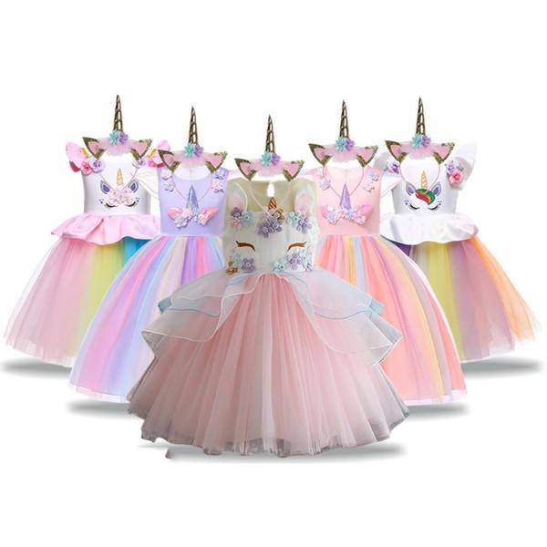 Compre Vestido Unicornio Para Niñas Vestidos De Fiesta De Verano Para Niños Traje De Unicornio 2019 Princesa Vestidos Infantiles Para Niñas 3 4 5 6 7