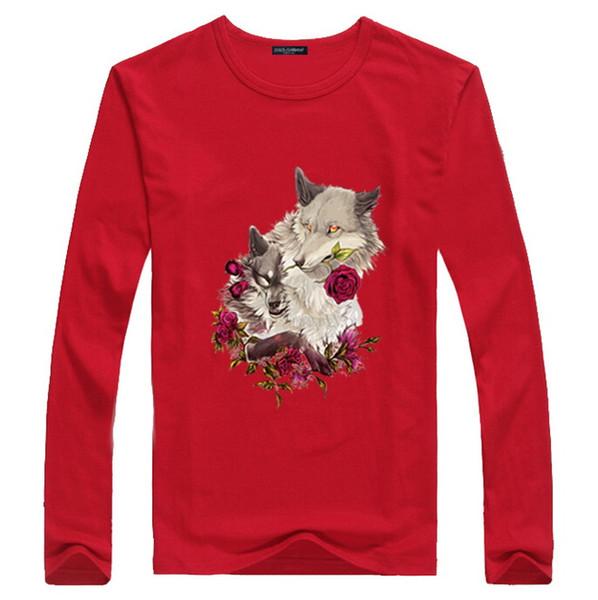 New 2019 Men Summer Flower Wolf Pattern 3D Print Long Sleeve T-Shirt Young Students Round Neck Red Cotton Sweatshirt Bottoming Shirt