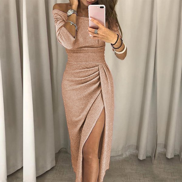 XXL Plus Size Shiny Bodycon Dress Women Sexy Off Shoulder Champagne Bling Long Party Dresses Elegant Ruched Thigh Slit Vestidos