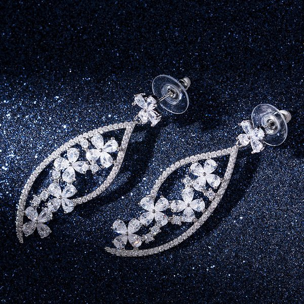 personality gorgeous flower zircon ladies earrings exquisite drop dangle earrings for women banquet party jewelry brincos