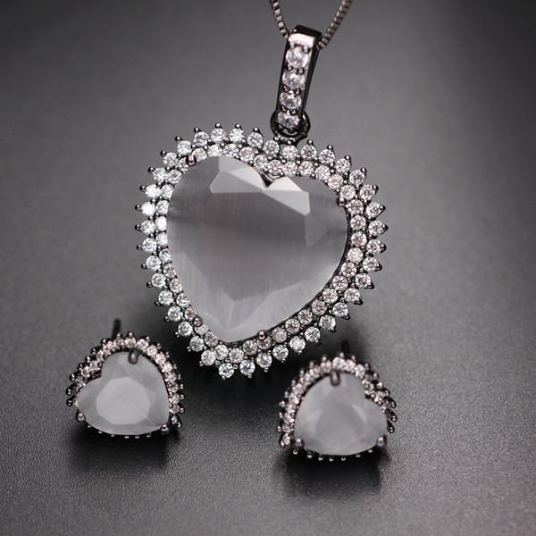 Heart Shape Opal Stones Jewelry Sets For Women Cubic Zirconia Paved Pendant Necklace Stud Earrings Crystal Opal Fashion Jewelry