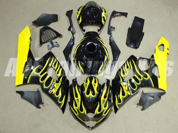 Nueva motocicleta ABS Kits de carenados aptos para Suzuki GSXR1000 K5 2005 2006 GSXR1000 05 06 conjunto de carrocerías moto personalizada Carenado negro amarillo llama