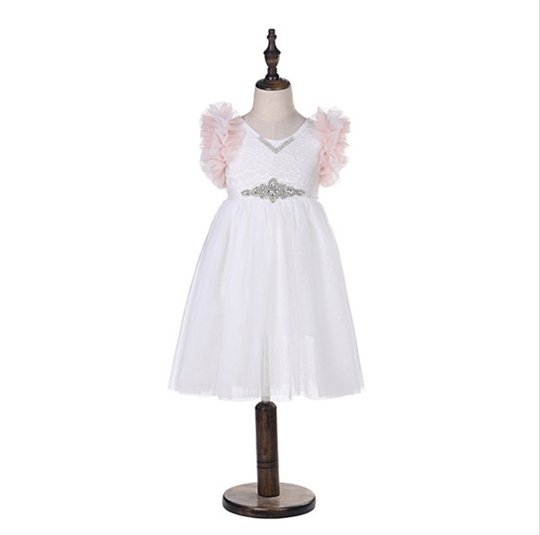 Girls lace embroidery Princess dress Summer kids tiered ruffle fly sleeve Tutu dress children rhinestones belt tulle Party dress C5061