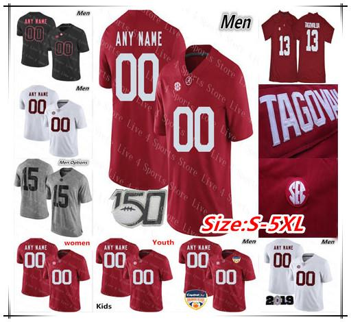 Personalizado 2019 Tamanho do Alabama Crimson Tide Football Jerseys Homens Mulheres Jovem S - 4XL 5XL Devonta Smith Henry Ruggs Quinnen Williams Tagovailoa