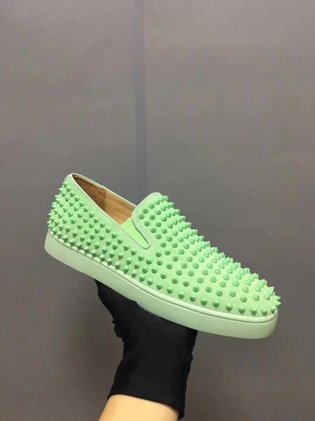 2019 melhor qualidade designer de moda marca studded spikes low cut sapatos baixos s sapatos das mulheres dos homens amantes do partido tênis de couro genuíno