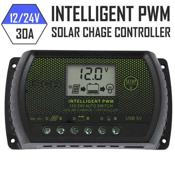 DC 12V/24V 30A Solar Panel Battery Regulator Charge Controller PWM LCD Display DC 5V Output for Car Boat