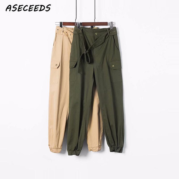 2019 Summer Fashion Sashes Women Army Green Khaki High Waist Loose Cargo Pants Trousers Street Jogger Sweatpants Pants Women New Y19070301