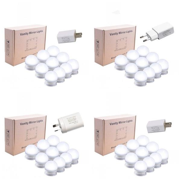 LED Ayna Ön Lamba Tricolor Iki Renk Sıcaklığı Ayarlanabilir Işık Kozmetik Aynalar Ek Ampul Dize Soyunma Room52hgE1