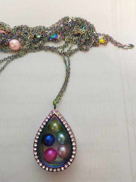 Новое поступление разноцветного сплава tearsl Магнитные медальоны из циркона с подходящей цепочкой могут установить жемчуг 6-8 мм в подарок и на всю партию