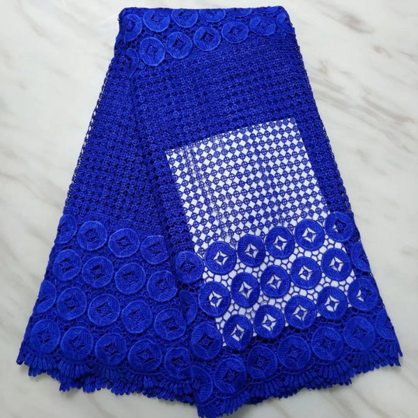 5Yards/pc Top sale royal blue african water soluble lace embroidery french mesh guipure lace for dressing BW41-2