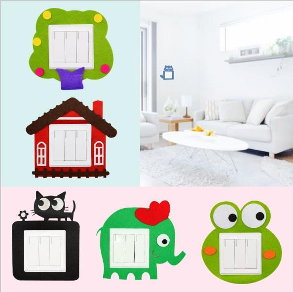 Cute Cartoon Felt Switch Stick Hollow Switch Stick Creative Home Does Not Hurt The Wall Switch Cover