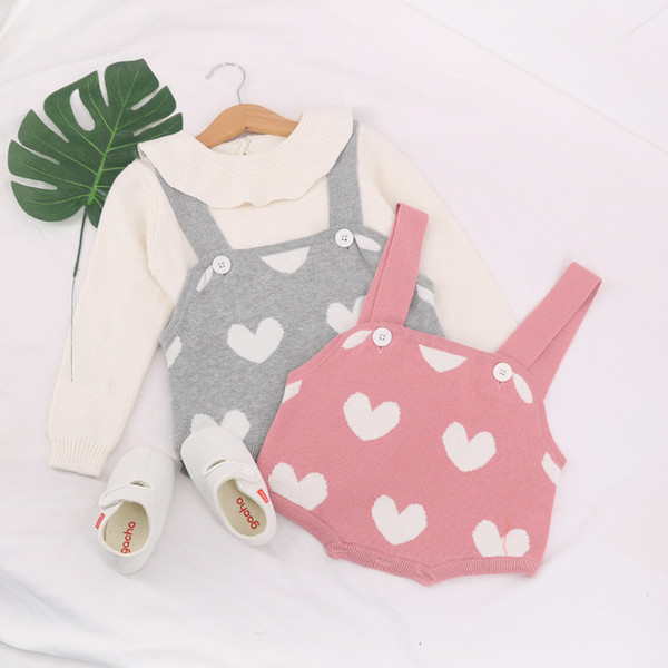 Baby Girls Boys Rompers Infant Toddler Kids Lovely Heart Sweater Romper Knitted Jumpsuit Clothes Autumn Cotton Baby Rompers