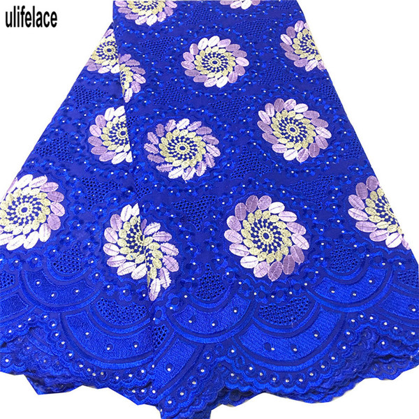 African Swiss Voile Lace High Quality Eyelet Cotton Lace Royal blue Color Swiss Voile Lace In Switzerland For Nigerian dress SW-455