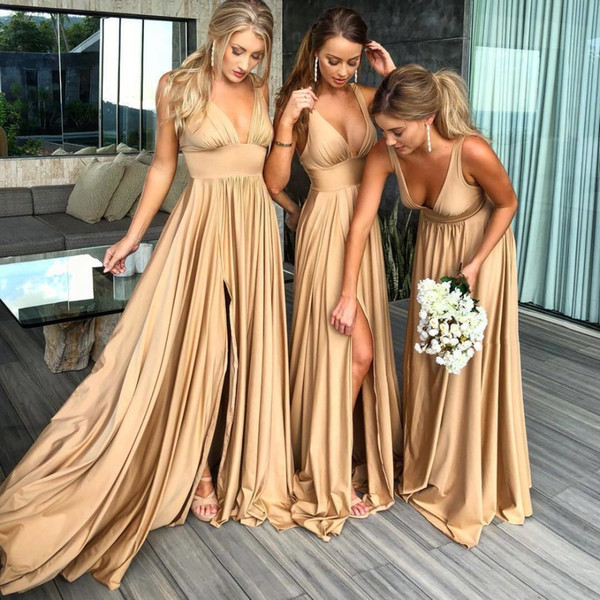 New Backless Elastic Silk like Satin Sexy Side Split Deep V-neck Champagne Gold Bridesmaid Dress Long Wedding Party Plus Size Guest Gowns