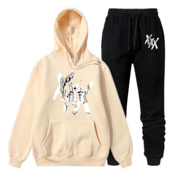 XXX Tentacion Hoodie + Hosen Männer Streetwear Hip Hop Pullover Hoodies Sweatshirts Marke Trainingsanzug Kleidung 3XL QJT08