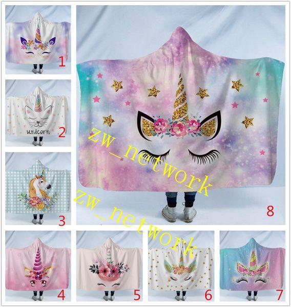 best selling NEW Unicorn Hooded Blanket Cartoon Cute Children Blanket with Hood Soft Warm Unicorn Sherpa Fleece Snuggle wrap Blanket for Kids 130cm*150cm