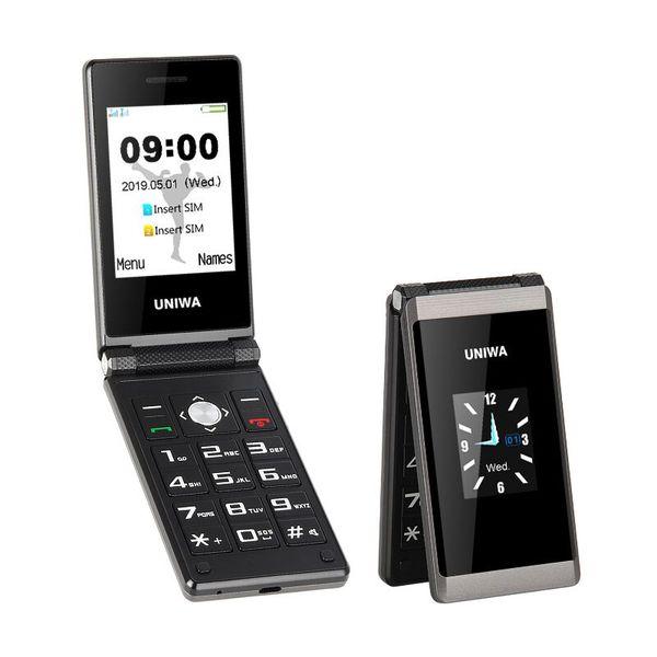 top popular UNIWA X28 2.8 1.77 Inch Dual Screen SOS Function Big Button 1200mAh Battery Long Standby Unlock Flip Cell Phone 2021