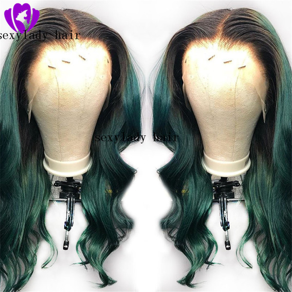 High quality simulation human hair wavy African American Bob Wigs Ombre Green Short Straight Synthetic lace front Wigs For Black Women