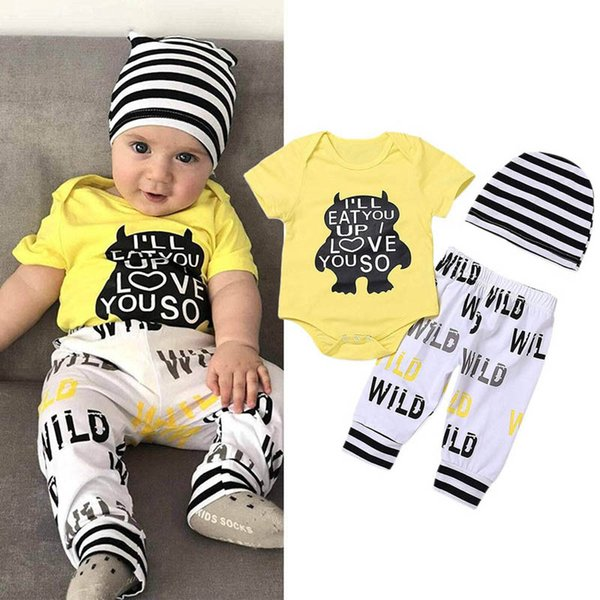 monster Baby Suit Summer Newborn Outfits Boys Clothing Sets baby romper+hat+pants Boys Clothing Sets baby infant boy designer clothes A4728