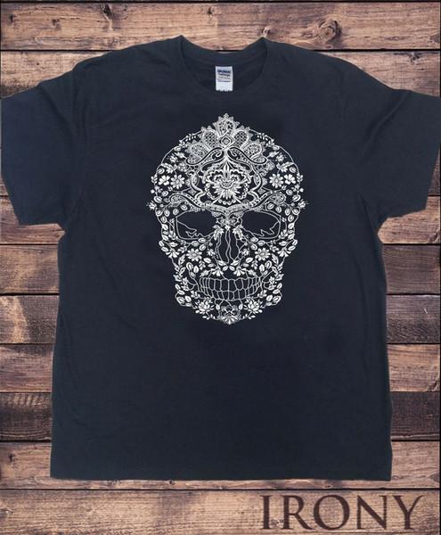 TS875 Mens Skeleton Floral Design Flowery Pattern Skeleton Skull Print Harajuku Summer 2018 Tshirt T Shirt Quotes Mens Dress Shirt From Shortcup