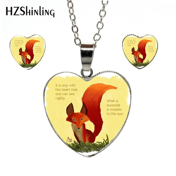 2019 New Fashion Vintage Heart Necklace Earrings The Little Prince and the Fox in the Light Silver Chains Heart Set Jewelry