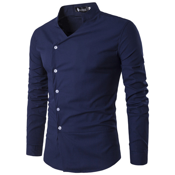 Mens Shirts 2019 New Men's Slant Lapel Asymmetrical Small Stand-up Collar Long-sleeve Shirt Mens Shirts