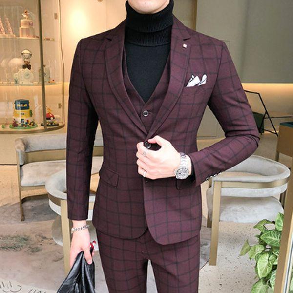3 Stücke Anzug Weste Herrenanzüge Mit Hosen Weinrot Retro Plaid Slim Fit Formale Hochzeitskleid Smoking Anzüge Plus Größe 5XL 2019