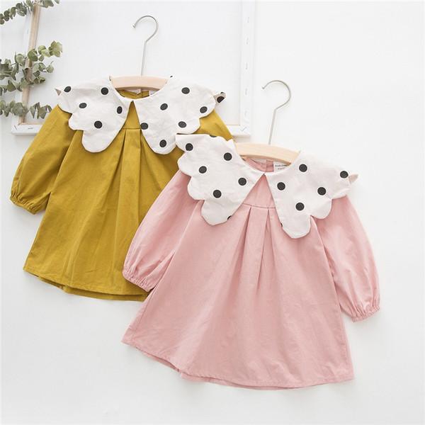 DUDU INS Autumn Little Girls Dresses School Big Flower Polka Dot Turn-down Collar Tatting Cotton Long Sleeve A-line Princess Girls Dress