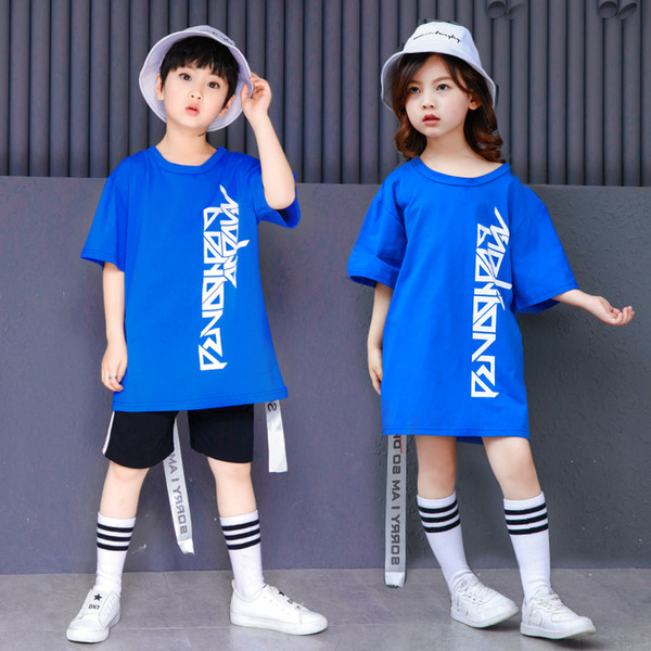 Korean Blue Letter Hip Hop Street T Shirt And Short Girls Boys Two Piece Set For Summer Plus Size