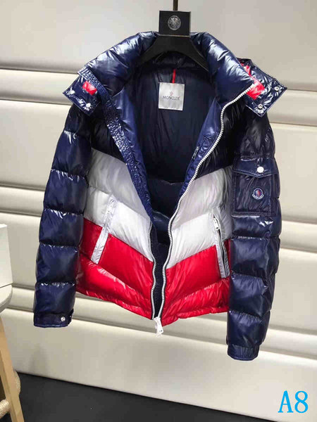 Capa de los hombres de Down Homme abrigos esquimales Chaqueta gruesa ropa de abrigo esquimal de la manera superior a prueba de viento chaqueta de invierno abrigo al aire libre con la etiqueta abrigos Parkas 1 # 1A8