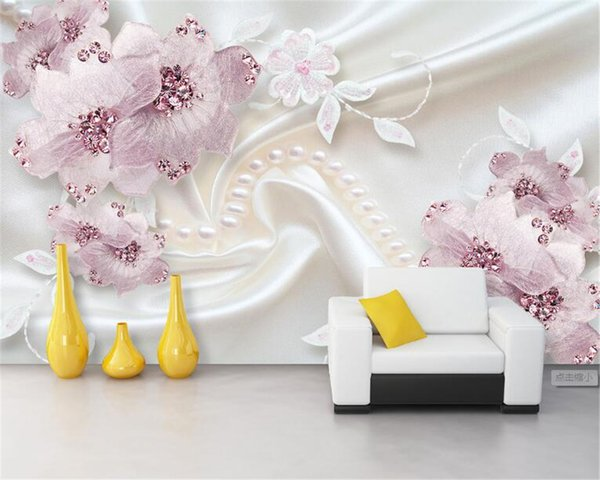 Beibehang fiori Lusso diamante 3d gioielli TV sfondo murales 3D sfondo vivere wallpaper per pareti 3 d