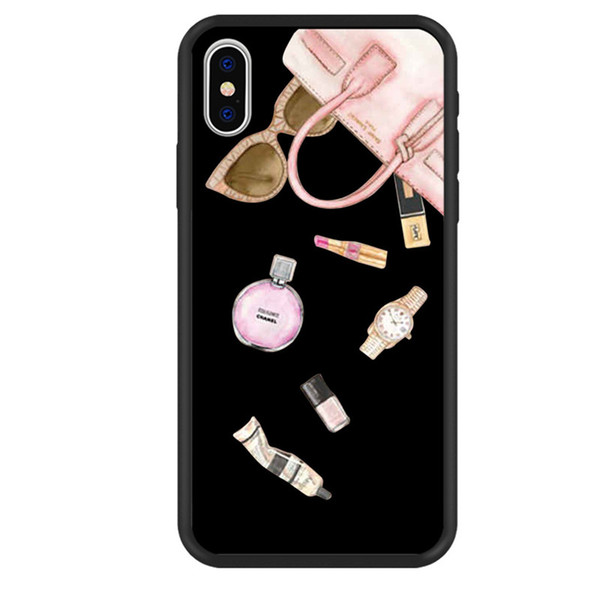 Unique Cute Lipsticks Cosmetics Black Soft Silicon Phone Case Back Cover for iPhone and Samsung Galaxy S8plus