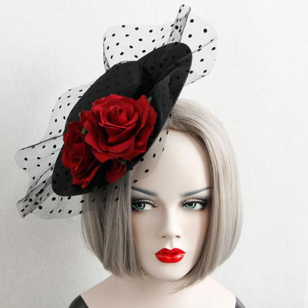 Gioielli Rosa rossa Hat diadema dei capelli per i clip partito del merletto dei capelli delle donne di nozze femminile Halloween sexy vintage capo gioielli 2019
