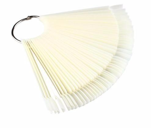 50pcs False Display Fan Board Art Tips Polish Uv Gel Decoration Practice Round Hoop Display Stick Clear Natural