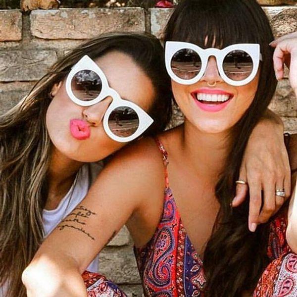 Vintage Luxury Cateye Sunglasses Women Candy Color Lens Glasses Classic Retro Outdoor Oculos De Sol Feminino UV400