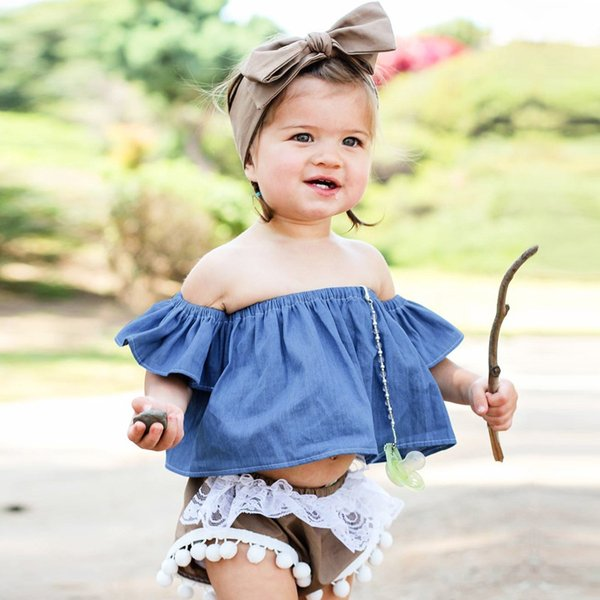 4 colors Summer new baby girl solid off shoulder top tees girls cotton designer clothes kids Ins style t-shirt