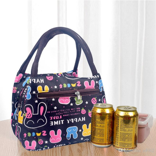 Oxford Water Proof Mini Insulated Cooler Zipper Print Bag Single Shoulder Heat Preservation Portable Package Ice Pack Double Handle 5 3sjb1
