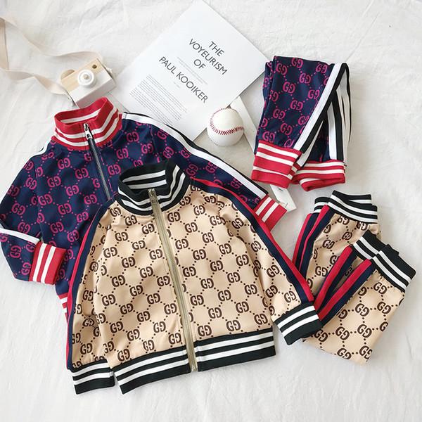 Ropa de bebé para niños Traje deportivo Primavera otoño Conjunto Vetement Garcon Cardigan Chaqueta de bebé + pantalones Ropa de niño para envío gratis Ropa de niños